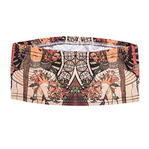 Damen Tube Top Bikini Bustier Sommer Coachella Style Bandeau Party Outfit Look Trägerlos Schulterfreies Fullprint Onesize Muha
