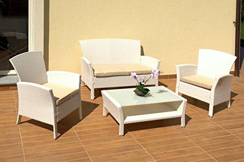 Salotto Rattan Sintetico Bianco.Luxurygarden Set Salotto Da Giardino Con Divano 2 Poltrone