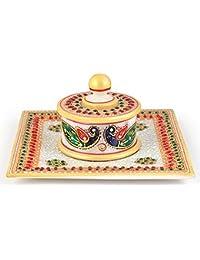 Little India Meenakari trabajo caja de joyería de mármol de oro y bandeja blanco