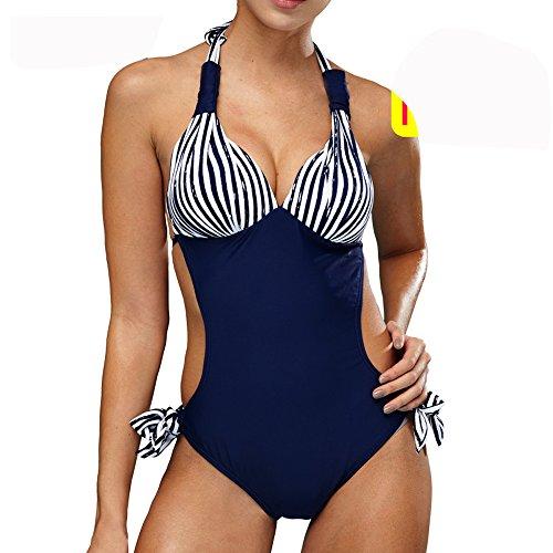BIKINI Frauen Badebekleidung FOCLASSY One Piece Solid Sexy Freizeit Bademode Frauen Pin Up Anzug Strand Sea Side Schwimmen Poor 11W0037 (M, BLUE) (Beste Schwimmen Kostüme Für Große Büste)