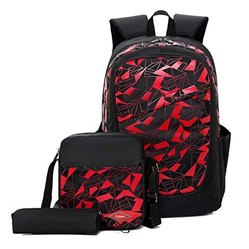 JUND Oxford-gewebe Schulrucksack für Jungen Schulrucksack Druck Rucksack Jugendlichen Schultasche Outdoor Reflektierender Daypack (Schwarz3)