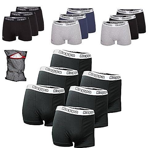 Kappa Édition Ziatec Boxers Tailles S, M, L, XL, 2XL, 3XL, 4XL Sous-vêtements en lot de 3, 6, 9ou 12, noir/gris, 6 Stück M