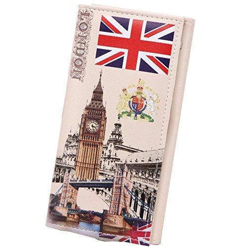 Yinglite portemonnaie damen Brieftasche Damen Geldbörsen Damen Geldbeutel Lange Damengeldbörse (C-London) London Geldbörse