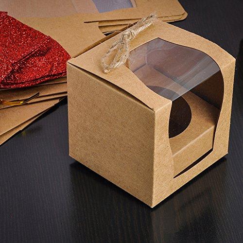 GEEDIAR® 12PCS Cajas de la Magdalena Pastel Pudín Favor de la Boda Cumpleaños con Una Ventana Transparente Papel de Kraft