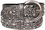 styleBREAKER Nietengürtel im Vintage Style, breiter Gürtel mit Nieten und Strasssteine, Glitzergürtel, kürzbar, Damen 03010020, Farbe:Antik-Grau;Größe:95cm