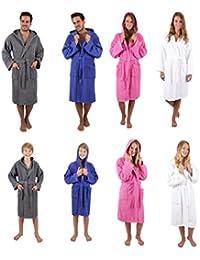 Betz Kapuzenbademantel NIZZA Frottee 100% Baumwolle Damen Herren Kinder Bademantel mit Kapuze verschiedene Farben, Größen 128-164 & S-XXL Größe 164 - weiß