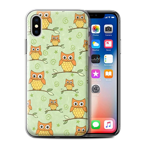 Stuff4 Gel TPU Hülle / Case für Apple iPhone X/10 / Orange/Pink Muster / Eule Muster Kollektion Orange/Grün