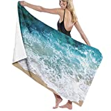 xcvgcxcvasda Serviette de Bain, Towels Bath Towels for Home Hotel and Spa Bath, Super Cozy, Sand Free, Blue Sea Waves Moisture Wicking, Absorbent, Fade Resistant Large Towel for Boys, Girls and Kids