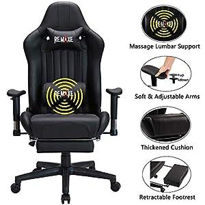 Silla ergonómica para juegos con reposacabezas y soporte lumbar para masaje, altura ajustable en altura, con reposapiés…