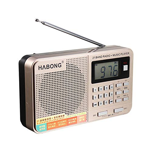Wovemster KK175 Portable Pocket Radio Personal, Handheld Full Band AM FM SW TF U USB Ricaricabile Lettore MP3 Digitale per Old Man Ascoltare Singing and Singing Machine (Oro)