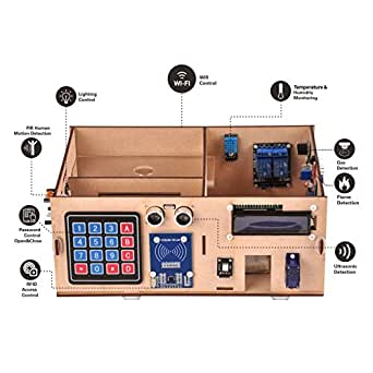 OSOYOO Yun IoT Smart Home Electronic Kit for Arduino, Mega Board, Wooden House Model, DIY Project