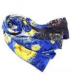 Prettystern P514 - 160cm sciarpa di seta dipinto handrolled van Gogh - Notte stellata (Starry Night)