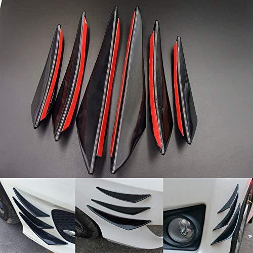 GSOLOYL 6pcs Universal Black Gloss Car Styling-Zubehör Auto Frontstoßstange Lip Gummi Fin Splitter Spoiler Canard Valence-Körper-Aufkleber -