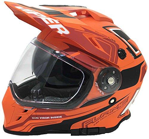 l Motocross Enduro MX On Off Road Abenteuer Dreckiges Fahrrad Quad BMX ATV Motorrad Helm (XS-XL, Mehrfarben) - Flame Matt Orange - S (Gold Atv Helm)