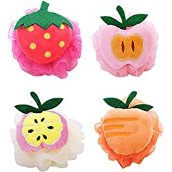 Kaxich 4 Stück Badeschwamm Badeknäuel Fruchtform Seifschwamm Duschschwamm Massageschwamm für Kinder und Erwachsene