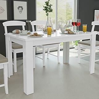 Fesjoy Table de Salle à Manger Blanche Table de Salle à Manger Simplicity Table rectangulaire Moderne, 140x80x75 cm