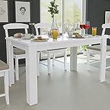 Fesjoy Mesa de Comedor Blanca Simplicidad Cocina Habitación Mesa Mesa Rectangular Moderna, 140x80x75 cm