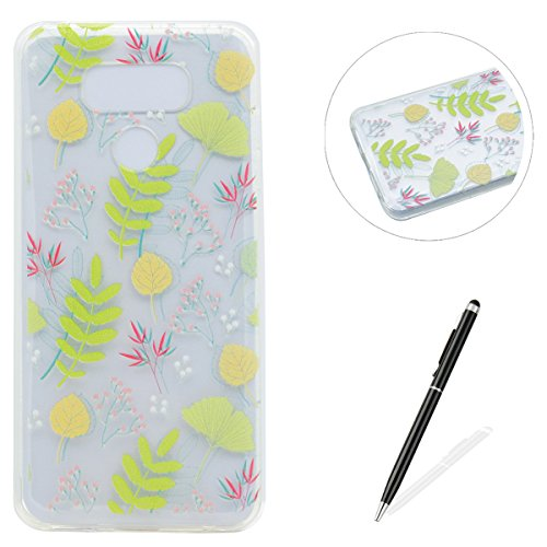 LG G6 Hülle,MAGQI Kratzfeste Transparent Weich Silikon Schutzhülle TPU Bumper Case mit Elegant Muster [Anti-Kratzer,Drop Protection] Flexible Ultra Dünn Gel Rubber Shockproof Skin Back Cover [Frei Stylus Stift] Passt perfekt für LG G6 - Bunte Blätter Green Maple Leaf