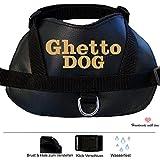 S Hunde Brustgeschirr aus Art Leder mit Namen Bestickt schwarz