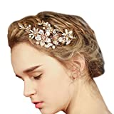 Wedding Bridal Golden Floral Hair Clips With Bling Rhinestone Prom Accessories Decoration