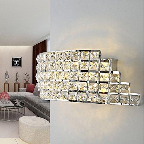 GOUD Lampada da parete applique da parete in cristallo, 2 luce, incisione moderna placca rinvenimento , 220-240v