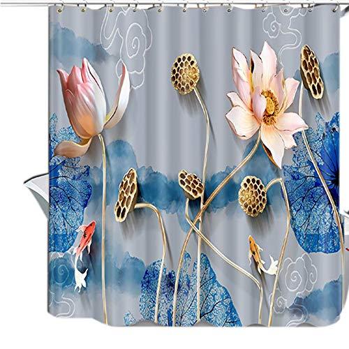MCBQ® Lotus Muster Anti-Schimmel Duschvorhang, 3D Digitaldruck Anti-Bakteriell Waschbar Wasserdicht Polyester Halbschattierung Duschvorhang Polyestergewebe,180X180CM