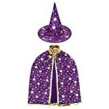 HomeMall Kinder Halloween Kostüm, Hexe Zauberer Umhang mit Hut für Kinder (Magie Lila)