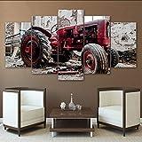 mbambm Moderne Toile Photos HD Imprimé Mur Art 5 Pièces Vieux Tracteur Cassé pour Le Salon Décoration De La Maison Peinture Affiche Pas De Cadre...