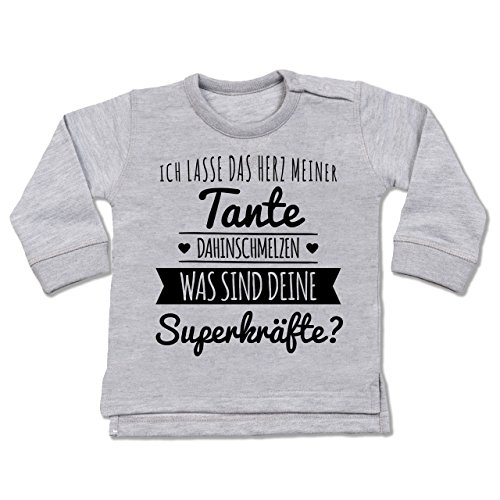 Shirtracer Sprüche Baby - Tante Herz dahinschmelzen - 18-24 Monate - Grau meliert - BZ31 - Baby Pullover