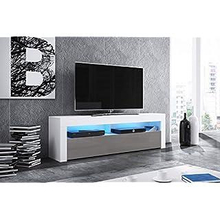Alan - Meuble TV/Table Basse TV/Banc TV de Salon (160 cm, Blanc Mat/Gris Brillant avec l'éclairage LED Bleue en Option)