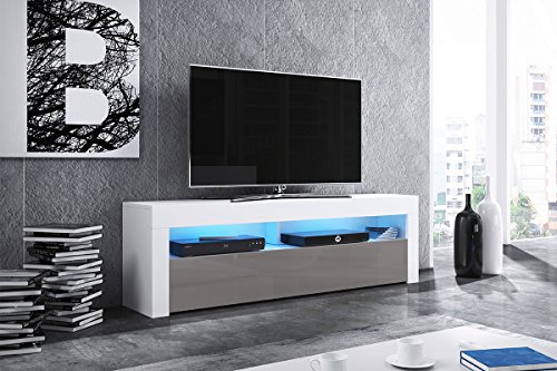 Alan - Meuble TV / Table Basse TV / Banc TV de Salon (160 cm, Blanc Mat / Gris Brillant avec l'éclairage LED bleue en option)