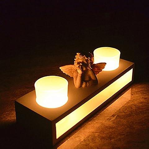Bluelover Candelabro madera Angel de vidrio vela titulares hogar decoraciones