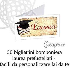 Idea Regalo - GICAPRICE BIGLIETTINI BIGLIETTINO BOMBONIERA Pronti ALL'UTILIZZO PRETAGLIATI (50 Pezzi Laurea Cappello + Libri)