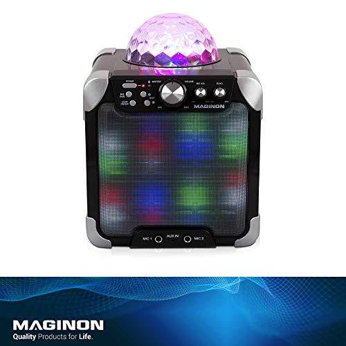 Maginon Party Speaker PS-15 E, Bluetooth Party-Lautsprechersystem und  Karaoke Center mit Partylichtkuppel, Front LED-Licht und Lichteffekte zur  Musik