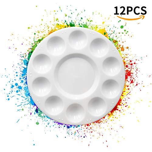 Quemu Co.,Ltd. bac à Peinture palettes – Rond Plastique Blanc 11 emplacements Palette pour Peinture à l'huile/Enfants Décoration DIY/Ongles Aquarelle Lot de 12 (Silver)