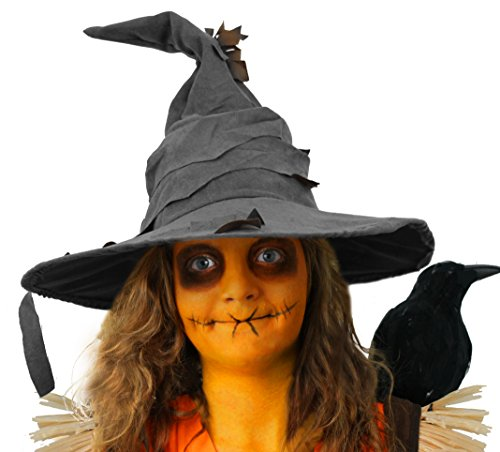 Vogelscheuche Fancy Kleid Zubehör Set Tatty Look Hat + Orange Facepaint Halloween-Kostüm Kit Unisex Gr. Einheitsgröße, GREY HAT