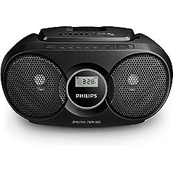 Philips AZ318 Lecteur CD/MP3 avec port USB, entrée audio, tuner FM, sur secteur ou piles - Noir