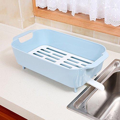 TYSM Regale Küchenregale Plastik Mit Wannen-Abfluss-Gestell-Gemüsegeschirr-Lagerregal (Farbe : Blau)
