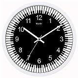 Notas de música para Piano Reloj de Pared Mudo Modista Minimalista Escuela Sala de Entrenamiento Decoración Relojes Cuadro gráfico Calendario, 10 Pulgadas, Metal básico - Blanco -354