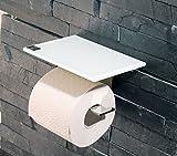 WC Rollenhalter/Toilettenpapierhalter mit Abstellfläche/Ablage aus weißem Glas - Made in Germany -