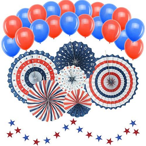 Patriotische Dekorationen, American Independence Day 4. Juli (50 Stück) - inklusive 6 Papierfächern, 20 blaue und rote Luftballons, 24 Luftschlangen, Party-Deko-Zubehör (4. Von Juli-party-spiele)