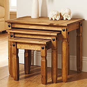 3 tlg tisch set rio kiefer massiv massiv beistelltisch. Black Bedroom Furniture Sets. Home Design Ideas