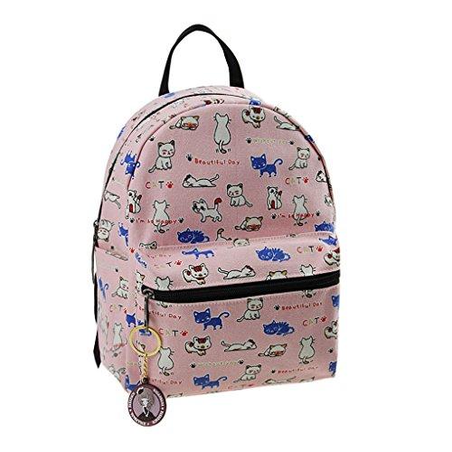 Sac à Dos En Toile Cartable Cartoon Sac d'Elevés 3-12 Ans Canevas Enfant Backpack Scolaire Loisirs Pour Enfant Primaire Maternelle Fille Garçon Unisexe - Rose