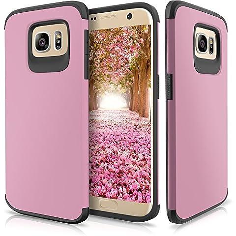 Funda Galaxy S7 Edge,SAMKER [Ultra Delgado] [Resistente Impacto] [ProtecciÓN Esquina] Armadura Doble Capa HÍBrido [Tpu Suave & Pc Duro] Cover Case para Galaxy S7 Edge – Rosa Claro