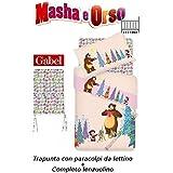Colcha cuna con cuna + completo Lenzuolino Gabel Masha y OSO Art. Painting Rosa Pesca