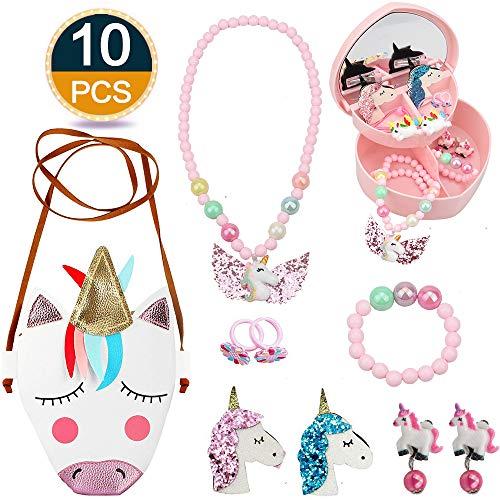 RHCPFOVR Joyas de Unicornio para niñas, Bolso de Bandolera de Cuero de Unicornio de PU, Collar, Pulsera, aretes, Anillos, Pinzas para el Cabello y Estuches de joyería Conjuntos de Regalo para niñas