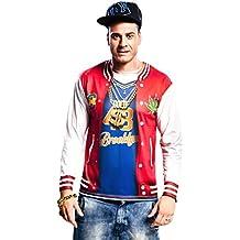 Yijja Fast Fun - Rapper, camiseta de manga larga para adultos, talla L (Charm Kingdom YJ00052)