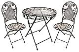 Terrassen Set aus Eisen Antik Design besteht aus 1 Tisch und 2 Stühlen Antik braun