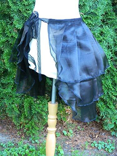Rock Weite 88cm schwarz Bustle Skirt Schleppe Wickelrock Organza - Korsett Tanz Kostüm