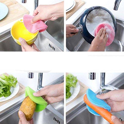 Multi Farbe Tröster (sunnymi Neu ★ Silikon Schale Waschen Schwamm Scrubber ★Küche Reinigung Antibakterielle Tool (blau))